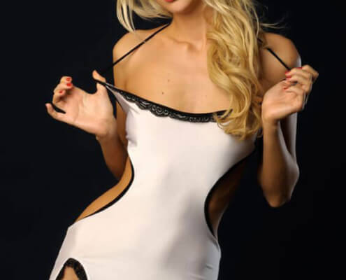 Las Vegas Blonde Strippers | Ciara Frontal White DressPhoto | Girls Direct To You