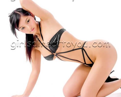 Asian Escorts Las Vegas | Lin Kneeling Black Bikini Photo | Girls Direct To You