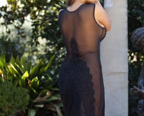 Las Vegas Sexy Escorts | Madison Black Dress Back Photo | Girls Direct To You
