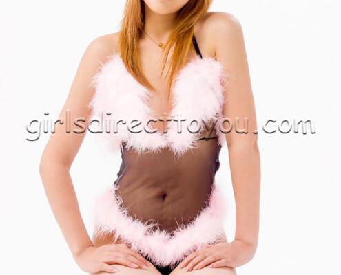 Vegas Asian Call Girls | Tiffany Black Nightie Kneeling Photo | Girls Direct To You